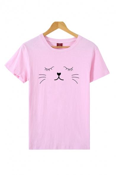 Basic Cartoon Cat Printed Short Sleeve Crew Neck Regular Fit Tee Top for Girls