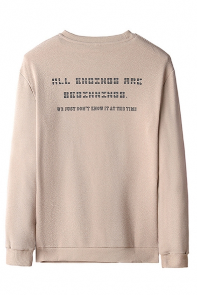 Casual Letter Kris Printed Flap Pocket Long Sleeve Crew Neck Loose Pullover Sweatshirt for Men
