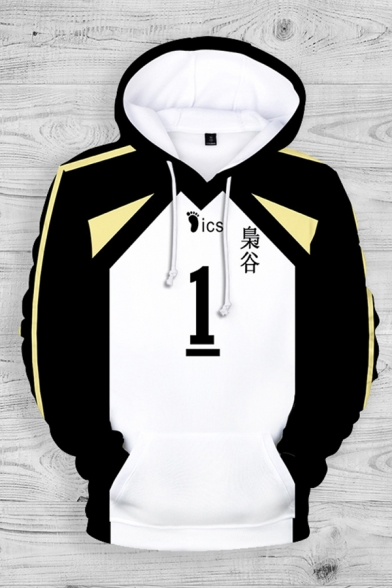 Cool Boys Japanese Letter Number Footprint Graphic Contrasted Kangaroo Pocket Relaxed Fit Hoodie in Black