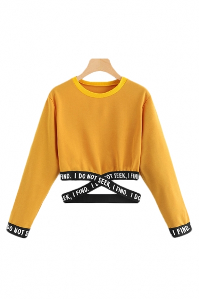 Letter I Find I Do Not Seek Printed Crisscross Tape Panel Long Sleeve Crew Neck Relaxed Crop Chic Pullover Sweatshirt for Girls