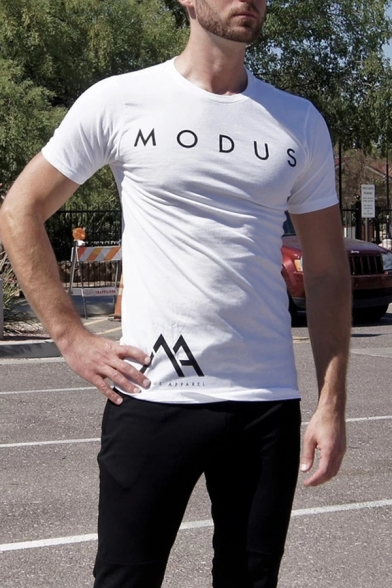 Letter Modus Print Short Sleeve Crew Neck Slim Fit Muscle Tee for Men