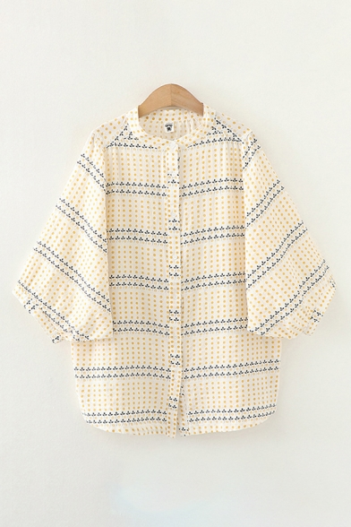 Popular Womens Polka Dot Ditsy Floral Printed 3/4 Sleeves Collarless Button down Curved Hem Oversize Shirt in Yellow