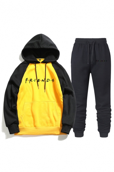Leisure Letter Friends Printed Contrasted Long Sleeve Drawstring Kangaroo Pocket Loose Hoodie & Ankle Length Relaxed Fit Sweatpants Co-ords