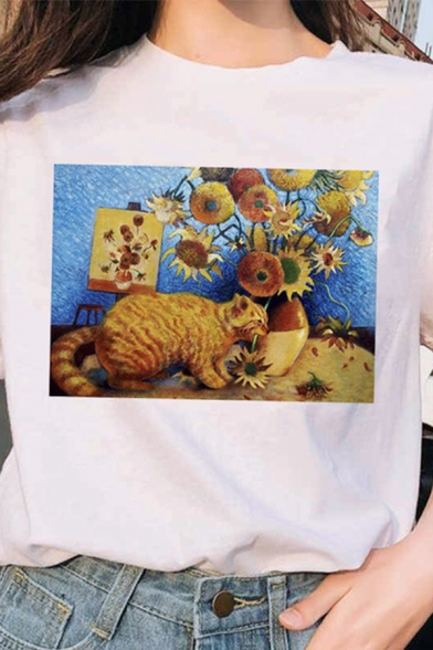 Simple Cat Oil Painting Printed Short Sleeve Crew Neck Relaxed Fit T-shirt in White