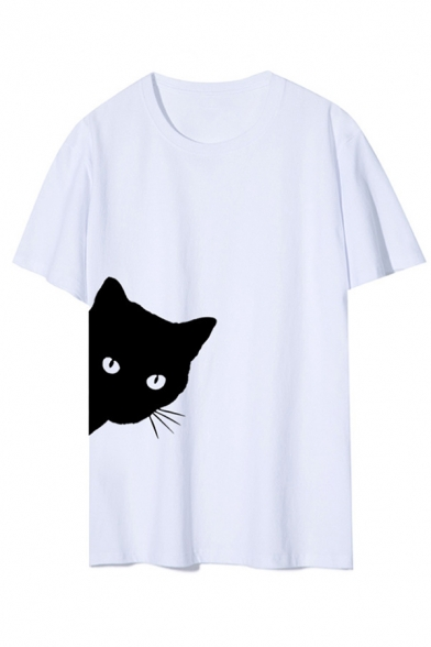 Casual Womens Cat Printed Short Sleeve Crew Neck Relaxed Fit T Shirt