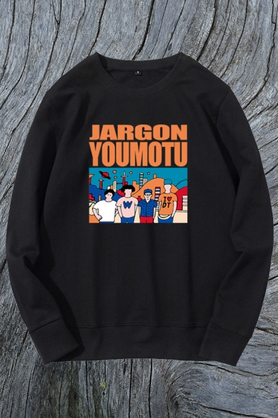 Cool Letter Jargon Youmotu Cartoon Graphic Long Sleeve Crew Neck Loose Fit Tee Top for Men