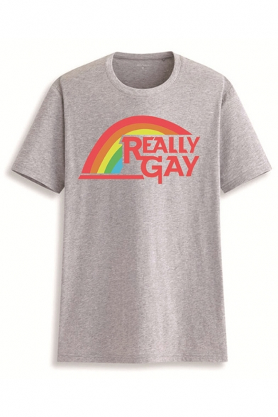 Letter Really Gay Rainbow Graphic Short Sleeve Crew Neck Loose Cool T Shirt for Girls