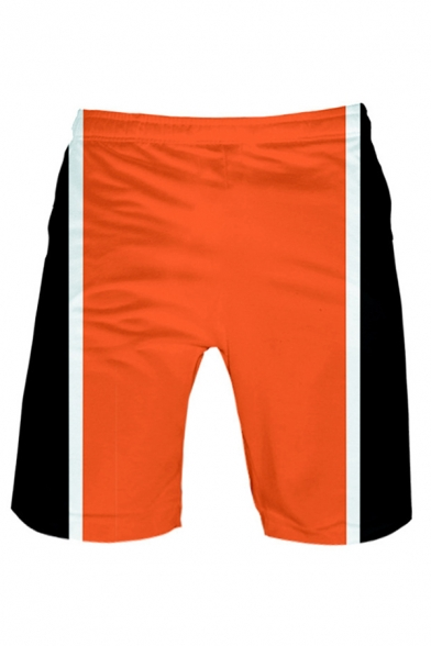 Mens Color Block 3D Cosplay Pattern Drawstring Waist Relaxed Fit Beach Shorts