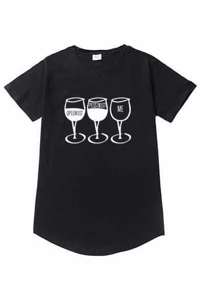 Opilmist Letter Wine Glass Graphic Short Sleeve Crew Neck Curved Hem Leisure T-shirt for Guys