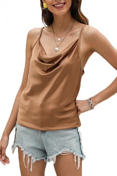 Simple Womens Solid Color Cowl Neck Spaghetti Straps Relaxed Fit Cami Top in Brown