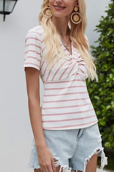 Stylish Womens Stripe Printed Twist Front Short Sleeve V-neck Regular Fit Tee Top in Pink-white