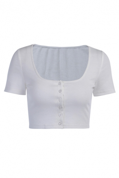 Womens Basic Solid Color Scoop Neck Button Down Short Sleeve Slim Fit Crop T Shirt