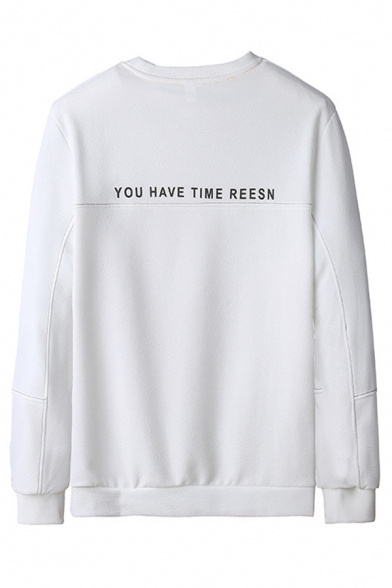 Cool Guys Letter Brend Printed Long Sleeve Kangaroo Pocket Relaxed Pullover Sweatshirt