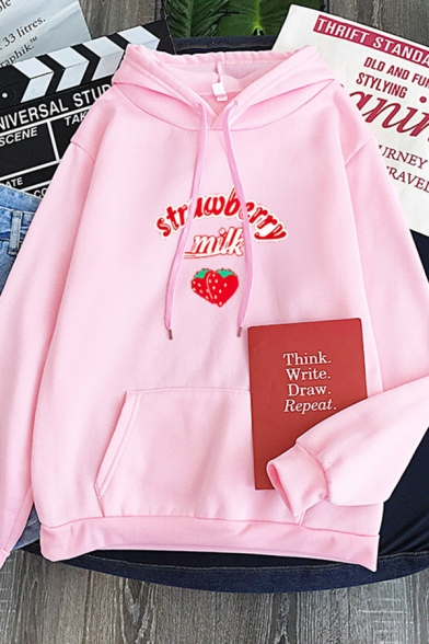 Popular Letter Strawberry Milk Graphic Long Sleeve Drawstring Pouch Pocket Loose Hoodie for Girls