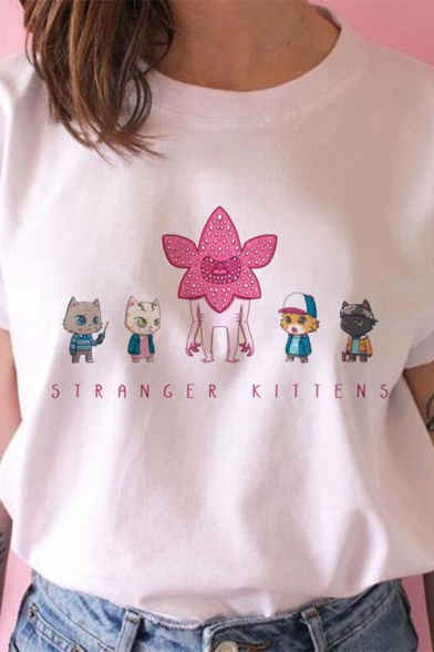 Stronger Kittens Cat Graphic Rolled Short Sleeve Crew Neck Relaxed Fit Fashion T Shirt in White