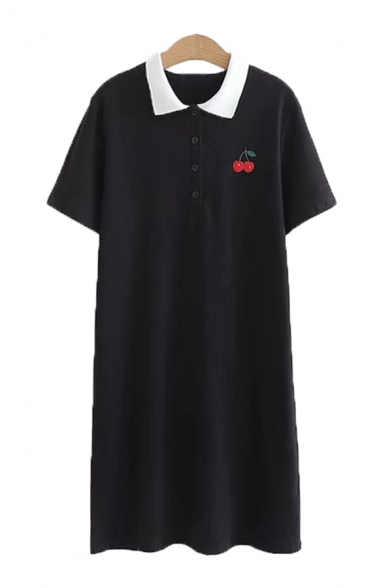 Trendy Ladies Fruit Embroidered Short Sleeve Contrasted Turn-down Collar Button up Mid Shift Polo Shirt Dress