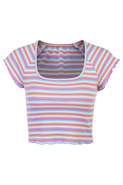 Womens Colorful Striped Printed Square Neck Lettuce Trim Cap Sleeve Slim Fit Cropped Tee Top