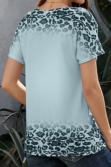Popular Ladies Leopard Printed Ombre Short Sleeve Round Neck Loose Fit Tee Top