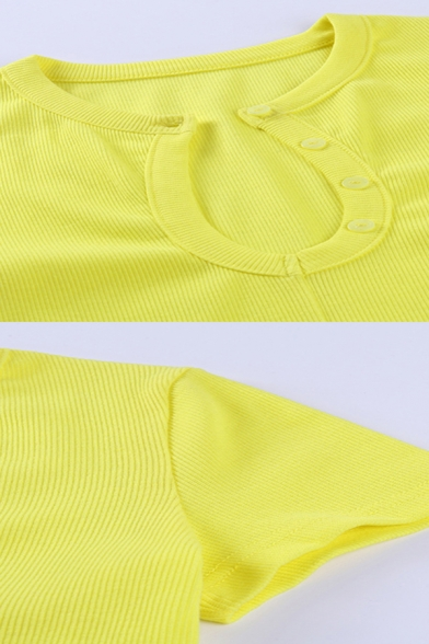 Womens Trendy Button Detail Split Neck Short Sleeve Slim Fit Cropped Tank Top in Yellow