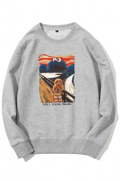 Cartoon Patterned Long Sleeve Crew Neck Loose Fit Trendy Pullover Sweatshirt for Guys
