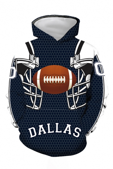 Cool Boys Letter Dallas Football Graphic Long Sleeve Drawstring Regular Fitted Hoodie in Navy
