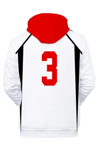 Fashionable Boys Cosplay Letter Number 3D Pattern Contrasted Long Sleeve Drawstring Loose Fitted White Hoodie with Pocket