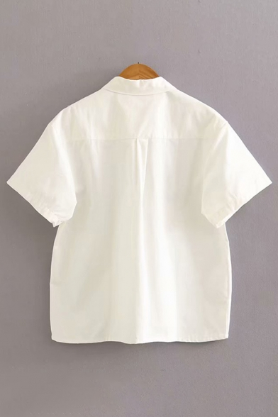 White Flower Printed Short Sleeve Turn-down Collar Button up Relaxed Stylish Shirt Top for Girls