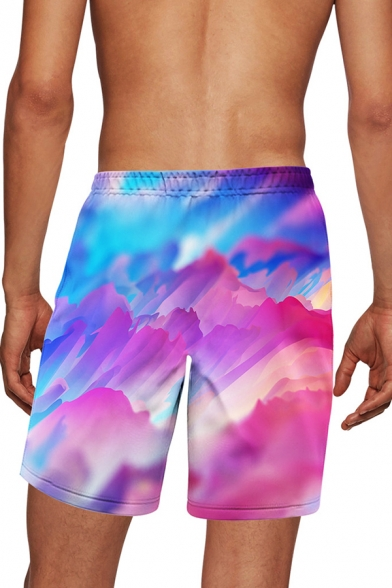 Beach Guys Mountain 3D Printed Drawstring Waist Relaxed Fit Shorts in Pink