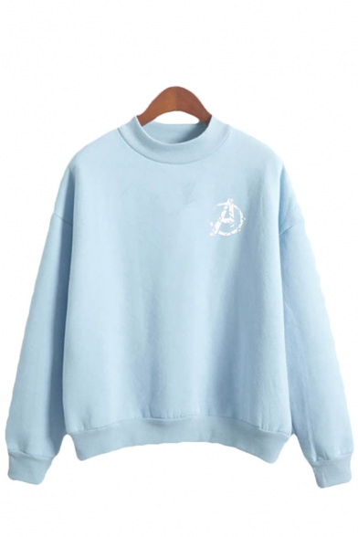 Cool Girls Letter A Printed Long Sleeve Mock Neck Relaxed Fit Pullover Sweatshirt