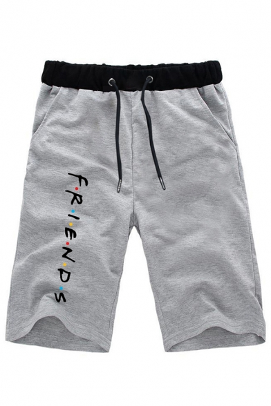 Leisure Letter Friends Printed Contrasted Drawstring Waist Straight Shorts for Guys