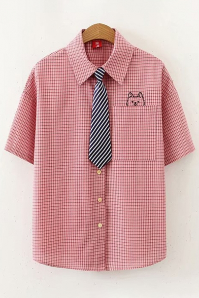 Preppy Looks Cat Embroidered Checkered Print Short Sleeve Point Collar Chest Pocket Button up Relaxed Shirt for Girls