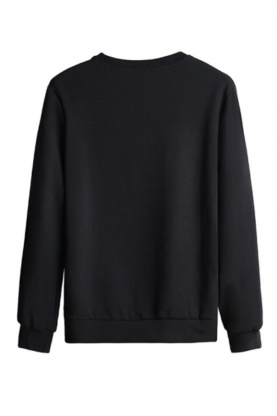 Casual Mens Letter Printed Long Sleeve Crew Neck Loose Pullover Sweatshirt