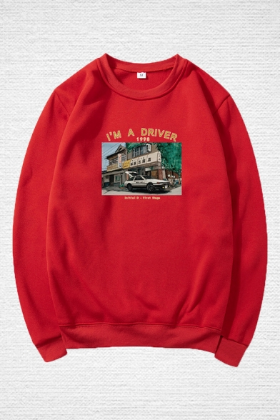 Cool Mens Car house Chinese Letter Pattern Letter Im a Driver 1998 Printed Long Sleeve Round Neck Regular Fitted Graphic Pullover Sweatshirt