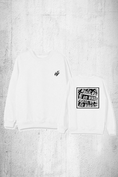 Leisure Girls Letter I Am Who Print Long Sleeve Crew Neck Relaxed Pullover Sweatshirt
