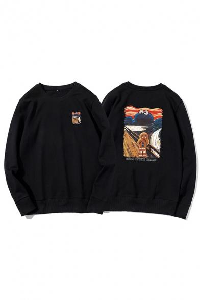 Leisure Mens Cartoon Patterned Long Sleeve Round Neck Loose Fit Pullover Sweatshirt