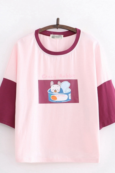 Letter Crazy Rabbit Cartoon Rabbit Graphic Contrasted 3/4 Sleeves Round Neck Relaxed Lovely Tee Top for Women