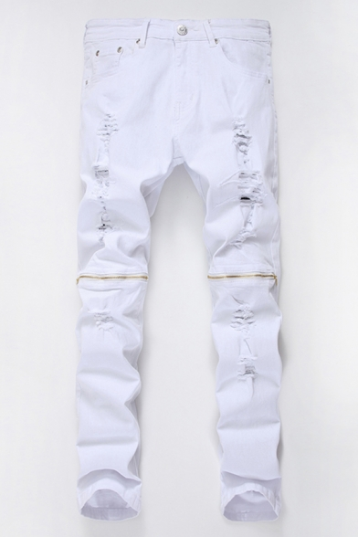 Men's Cool Fashion Knee Zip Embellished Stretch Slim Fit White Ripped Jeans