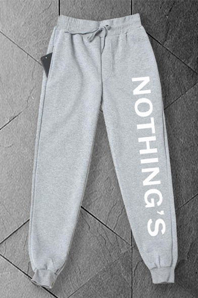 Mens Letter Nothing's Print Drawstring Waist Ankle Cuffed Carrot Fit Leisure Sweatpants