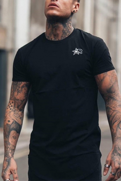 Muscle Boys Letter R Pentagram Graphic Short Sleeve Crew-neck Fitted Tee in Black