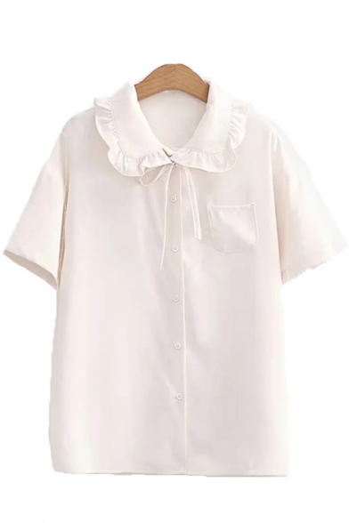 Simple Solid Color Short Sleeve Stringy Selvedge Peter Pan Collar Button up Tie Front Chest Pocket Relaxed Shirt for Girls