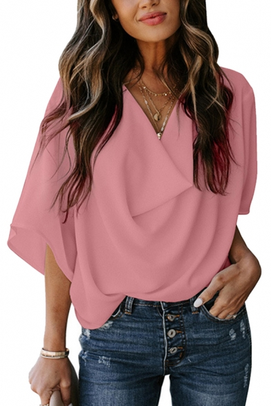 Trendy Ladies Solid Color 3/4 Sleeves Cowl Neck Loose Fit Blouse Top