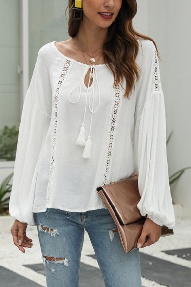 Casual Womens White Blouson Sleeve Round Neck Fringe Bow Tie Lace Panel Loose Fit T-shirt