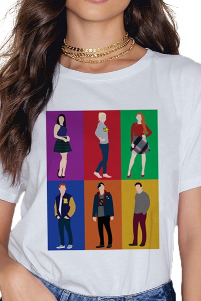 Cool Letter Loyal to The End Cartoon Graphic Short Sleeve Round Neck Relaxed T-shirt in White
