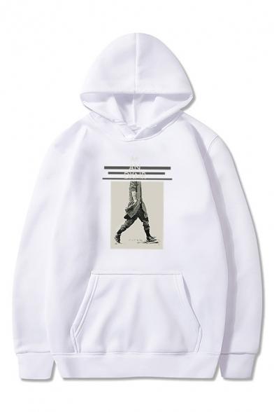 Cool Mens Character Pattern Letter M An Printed Drawstring Pocket Long Sleeve Regular Fit Hoodie