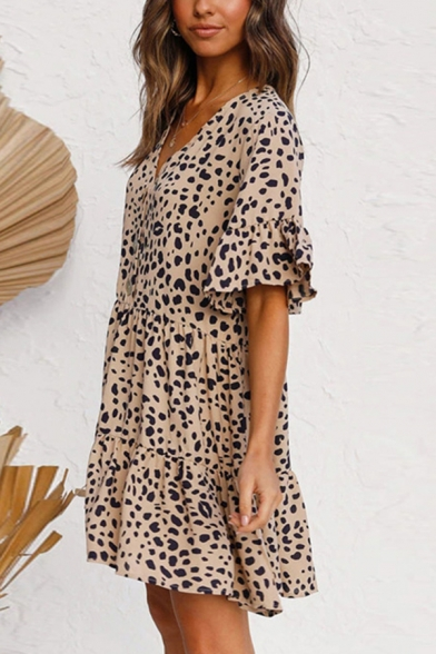 Popular Womens Leopard Printed Ruffled Bell Sleeves V-neck Button up Short Pleaed A-line Dress in Khaki