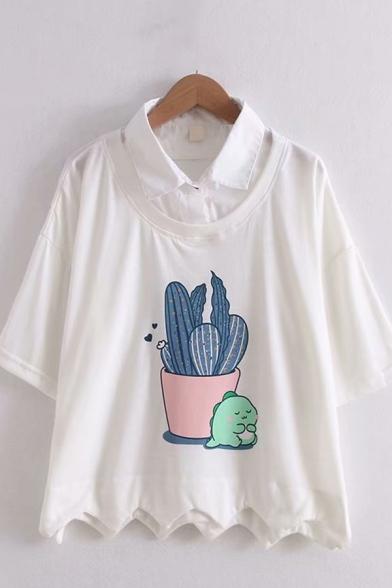 Preppy Girls False Two Piece Cartoon Cactus Pattern Short Sleeve Turn-down Collar Scalloped Loose T-shirt