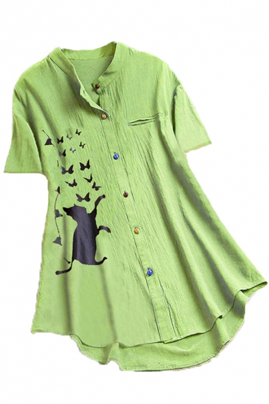 Stylish Womens Butterfly Cat Printed Colorful Button down Chest Pocket Short Sleeve Stand Collar Curved Hem Loose Shirt