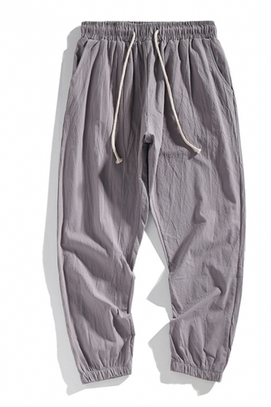 Cozy Mens Solid Color Pocket Drawstring Cuffed Mid Rise Regular Fitted Ankle length Linen Pants
