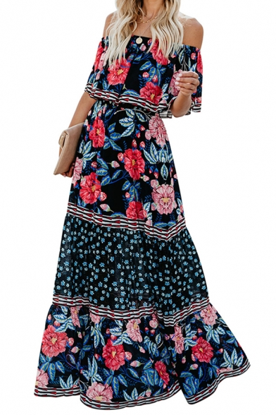 Leisure Womens Allover Flower Printed Off the Shoulder Ruffled Trim Maxi A-line Dress in Navy