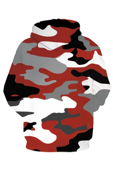 Mens Camo 3D Digital Printed Long Sleeve Drawstring Relaxed Fitted Unique Hoodie with Pocket